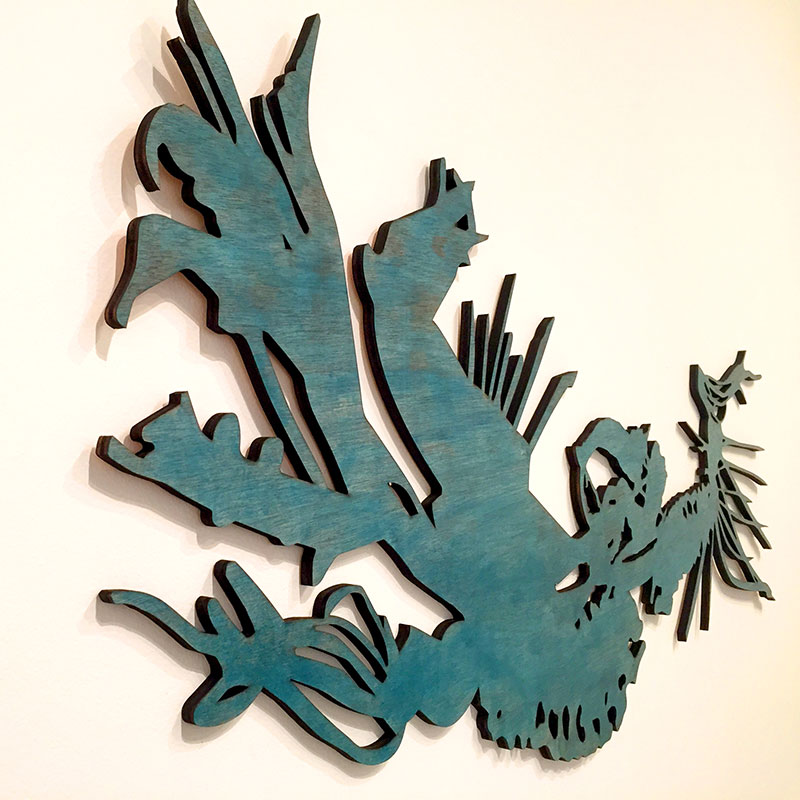 Of Bones & Blooms / laser cut birch, stained / 58 x 26 in