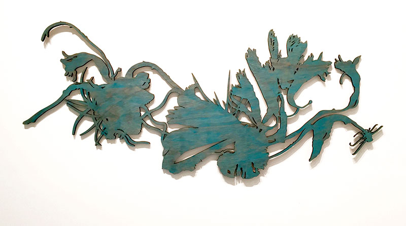 On the Wings / laser cut birch, stained / 58 x 26 in